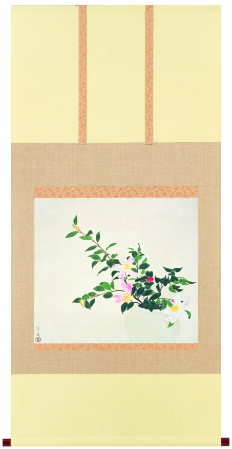 小倉遊亀『山茶花』特製複製画 掛軸