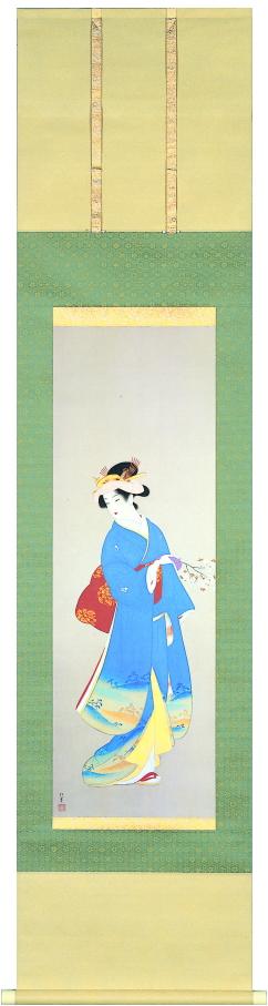 上村松園『春信』多色刷高級美術印刷 掛軸