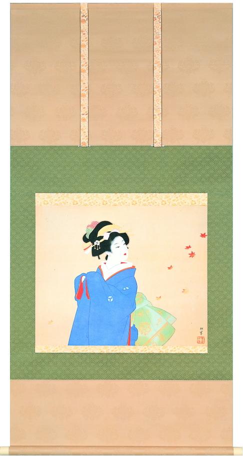 上村松園『深き秋』多色刷高級美術印刷 掛軸