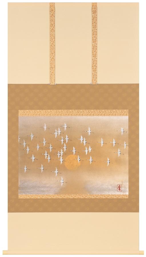 前田青邨『千羽鶴』彩美版・シルクスクリーン手摺り・一部本金泥使用 掛軸