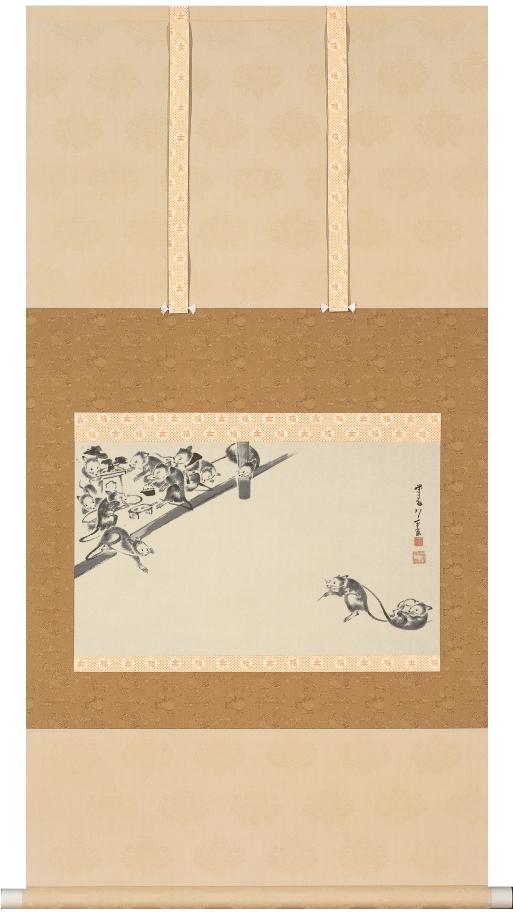 伊藤若冲『鼠婚礼図』彩美版掛軸