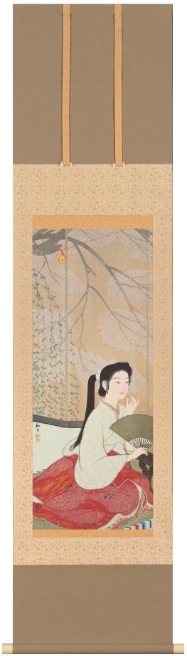 安田靫彦『花の酔』彩美版・シルクスクリーン併用 複製画 掛軸