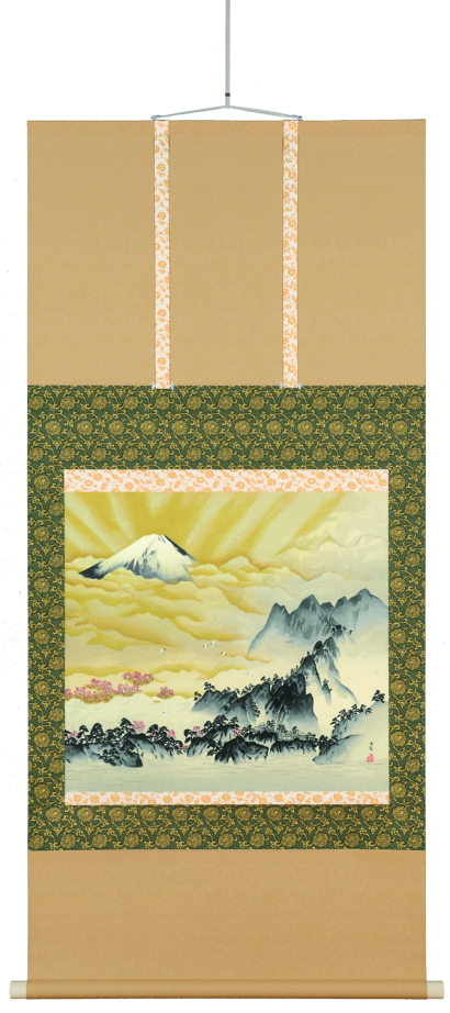 横山大観 生誕150周年記念『蓬莱山』金泥多色刷り木版画(軸装)