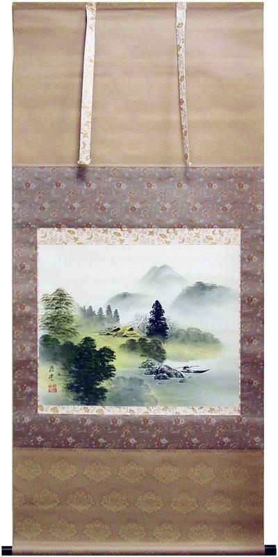 桜井浩堂『彩色山水』掛軸(尺八横)