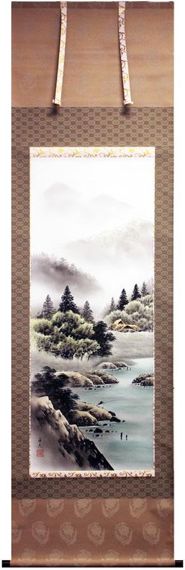 佐伯俊夫『彩色山水』掛軸(尺五立)