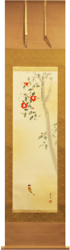 中谷文魚『椿に雀』掛軸(半切立)