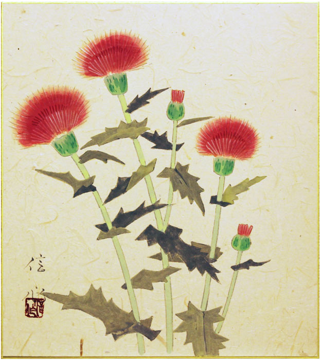 梅木信作『薊』色紙絵