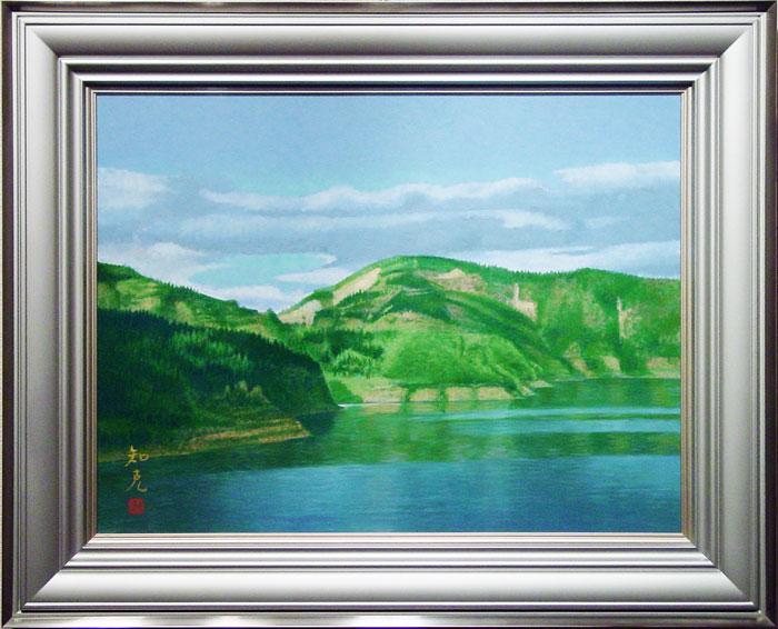 山本知克『山湖』日本画 P12(12号)【中古】