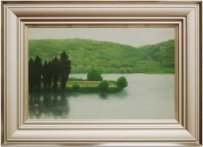 西村光人『山湖』日本画 М10(10号)【中古】