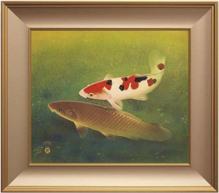 太田龍一『双鯉』日本画 F10(10号)【中古】