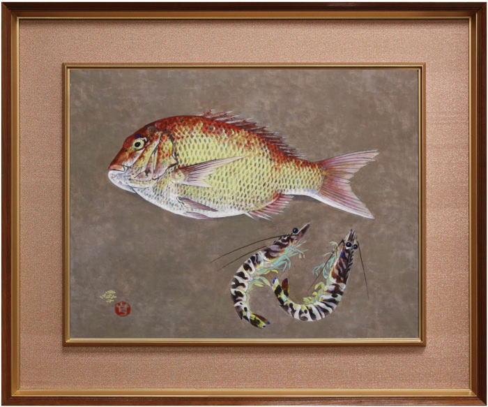 前田 曎(まえだえき)『海の幸』日本画 P10(10号)【中古】