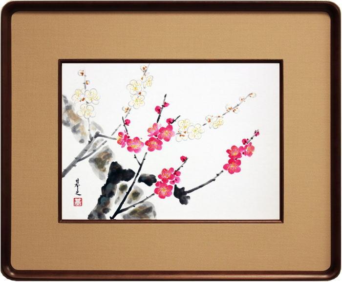 佐々木基之『紅白梅』日本画 F4(4号)