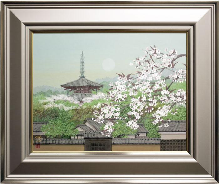 舟橋穏行『斑鳩の春』日本画  P10(10号)【中古】