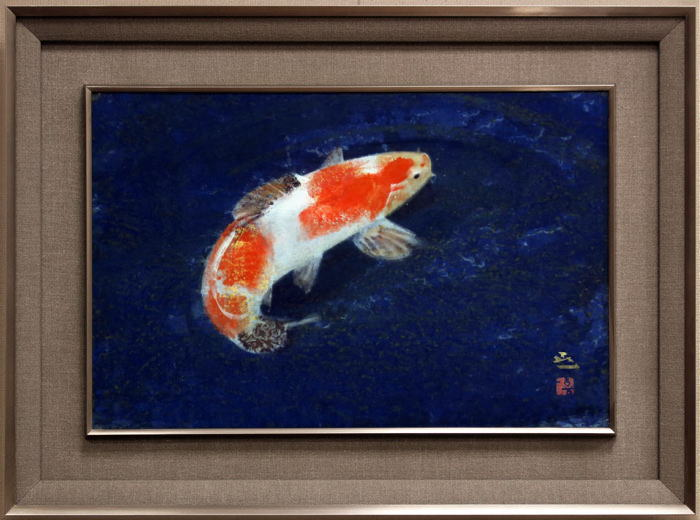 梶 喜一『鯉』日本画 P8(8号)【中古】