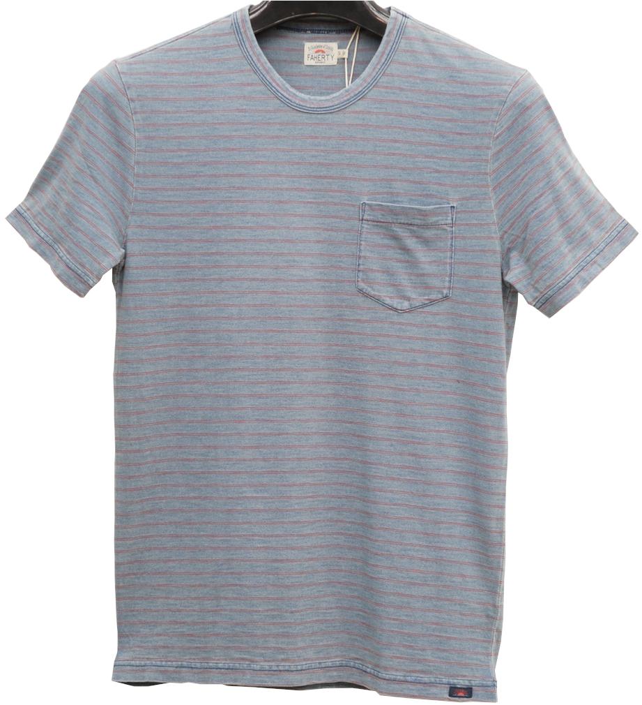 古着の様なインディゴブルーの色合いがお洒落な一着 FAHERTY BRAND ファリティ ブランド 大注目 本藍染め 送料無料カード決済可能 インディゴ ポケット レッドボーダー ヴィンテージウォッシュ あす楽 メンズ Tシャツ