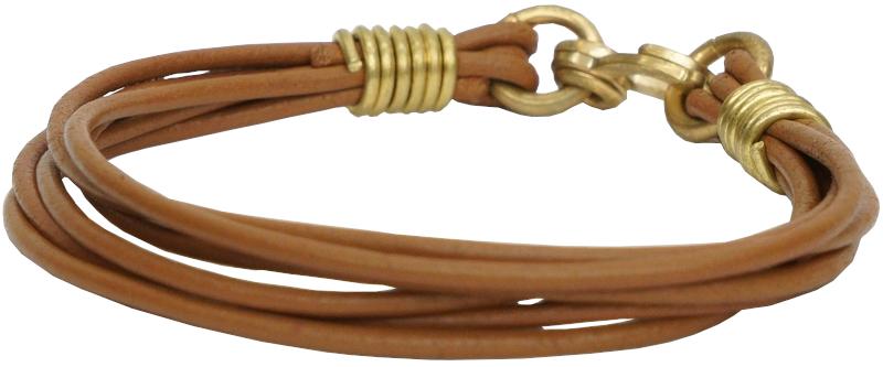 LHN Jewelry(エルエイチエヌ ジュエリー) 米国製 ハンドメイド レザー x 真鍮 Strand 本革 ブレスレット ブラウン メンズ ユニセックス Bracelet 【あす楽】