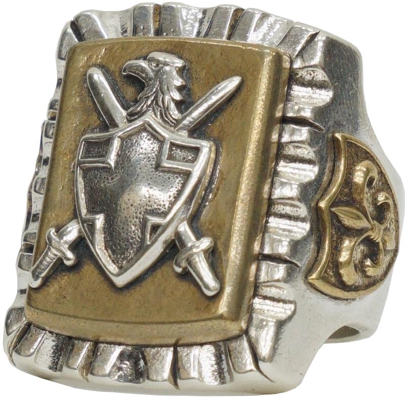 LHN Jewelry(エルエイチエヌ ジュエリー) ハンドメイド All Coat of Arms Souvenir リング シルバー x ブラス メンズ ring 【あす楽】
