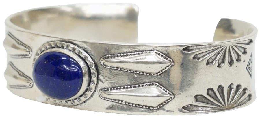 シルバーと美しいラピスの色合いが素晴らしい逸品 LHN Jewelry エルエイチエヌ ジュエリー ハンドメイド ナバホ スターリングシルバー Silver バングル x ファッション通販 Cuff 激安卸販売新品 Navajo ラピス あす楽