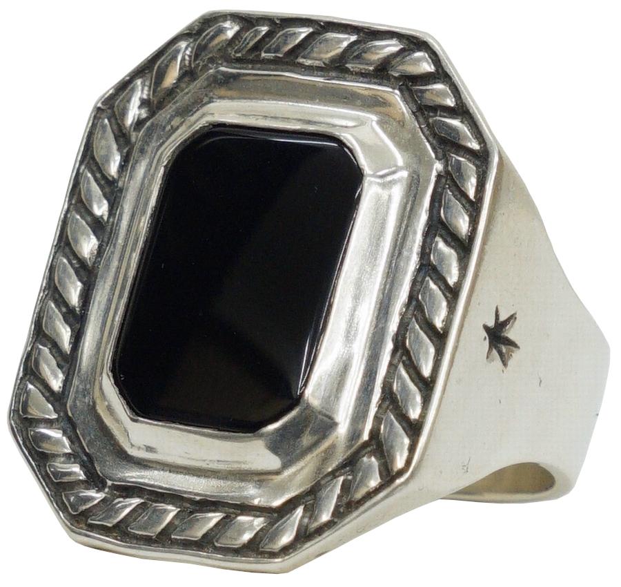 目標に向かい力強く進むというメッセージを込めたリング LHN Jewelry エルエイチエヌ ジュエリー Made In USA ハンドメイド 爆安 40 Knots ring Silver ユニセックス x 正規品 シルバー Onyx オニキス メンズ あす楽 リング