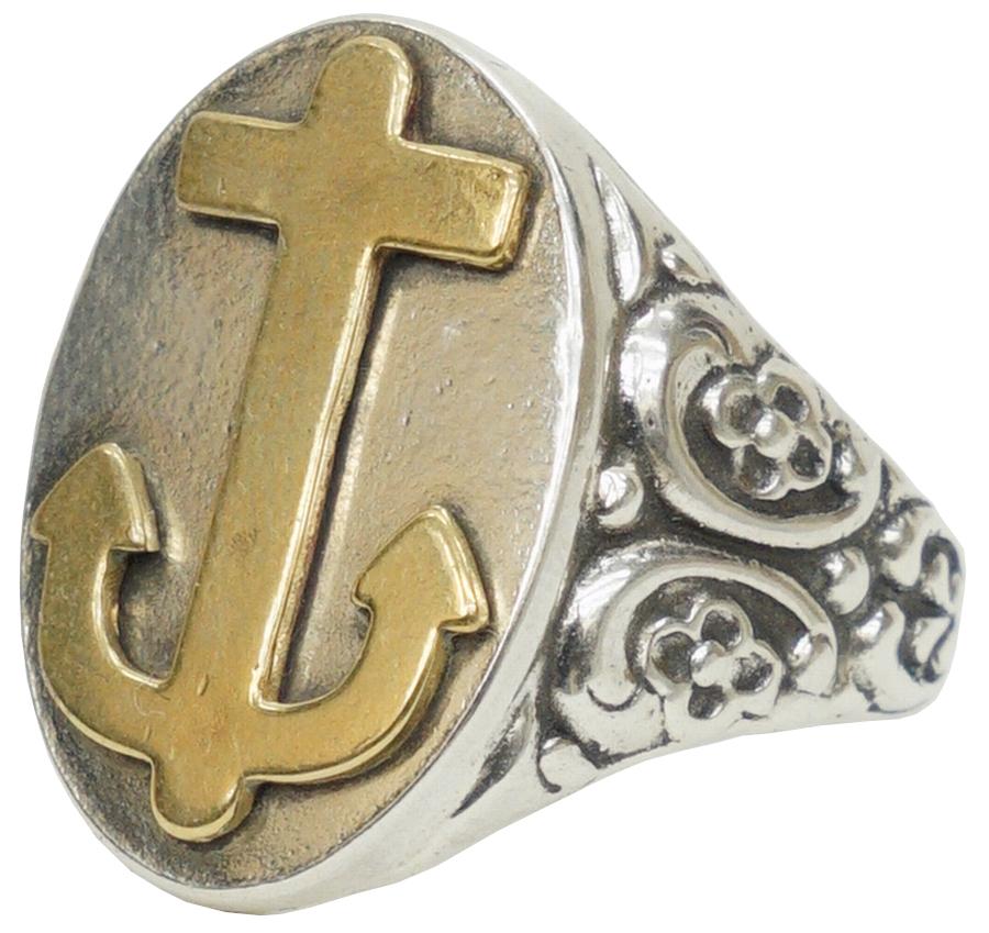 様々なメッセージを込めたハンドメイドのこだわりリング 美品 LHN Jewelry エルエイチエヌ ジュエリー 米国製 ハンドメイド Ornate アンカー リング ブラス あす楽 anchor メンズ brass シルバー x ユニセックス silver セール価格 ring
