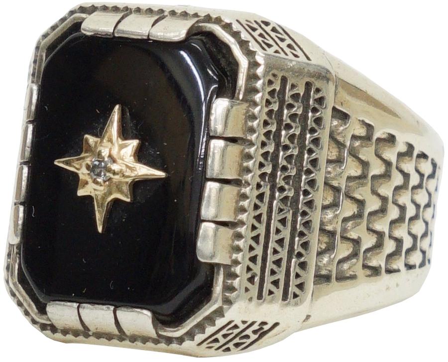 ダイヤモンドを使用したLHNのリングで最も高価な逸品 LHN Jewelry エルエイチエヌ 高級 ジュエリー アメリカ製 ハンドメイド Compass Aztec シルバー あす楽 リング オニキス ゴールド メンズ x 最安値に挑戦 ダイヤモンド ユニセックス