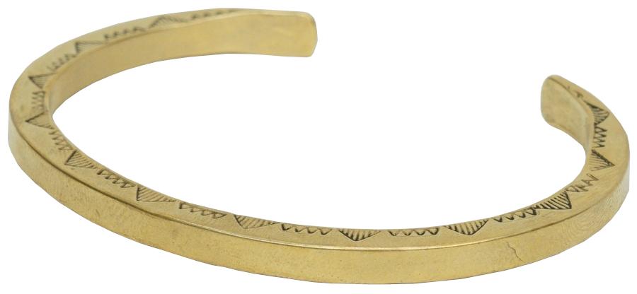 両サイドにスタンプワークを施した個性的なバングル LHN Jewelry 初回限定 エルエイチエヌ ジュエリー ハンドメイド アメリカ製 ナバホ ブラス 毎日続々入荷 Navajo Cuff バングル Brass 真鍮製 あす楽