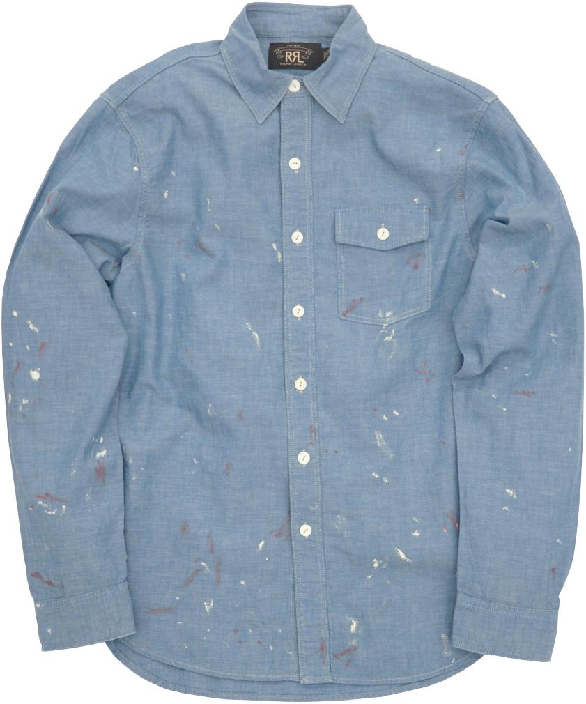 (ダブルアールエル) RRL 日本製生地 シャンブレー ワークシャツ ペイント加工 ブルー メンズ Painted Chambray Workshirt 【あす楽】