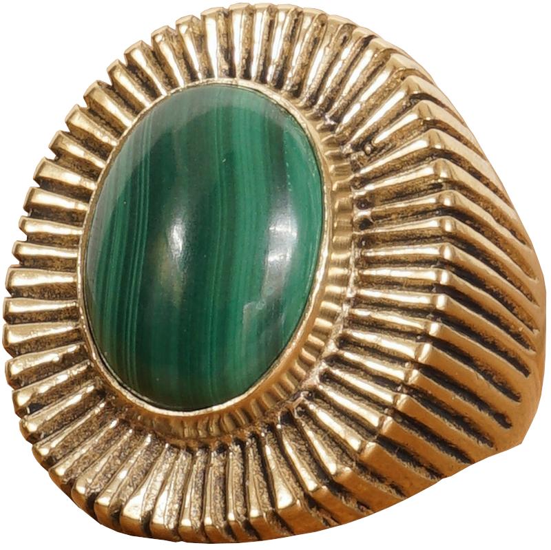 LHN Jewelry(エルエイチエヌ ジュエリー) 米国製 ハンドメイド Byron リング 真鍮 x マラカイト メンズ ユニセックス Brass Malachite ring 【あす楽】
