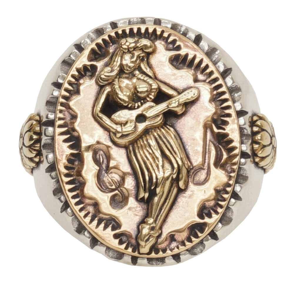 LHN Jewelry(エルエイチエヌ ジュエリー) アメリカ製 ハンドメイド フラガール スーベニア リング シルバー x 銅 x 真鍮 メンズ Hula Girl Souvenir ring 【あす楽】