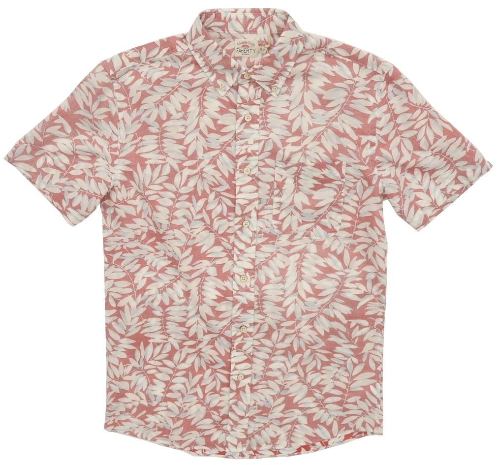 FAHERTY BRAND (ファリティ ブランド) Playa ボタニカルプリント 半袖 シャツ フェイデド レッド メンズ Faded Red Botanical 【あす楽】