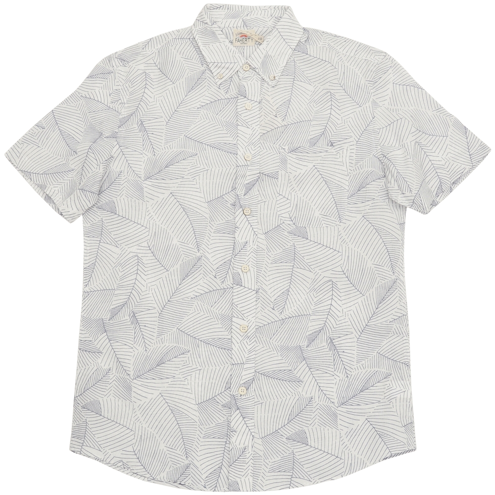 FAHERTY BRAND (ファリティ ブランド) Ivory Leaf リーフプリント 半袖 シャツ ホワイト メンズ 【あす楽】