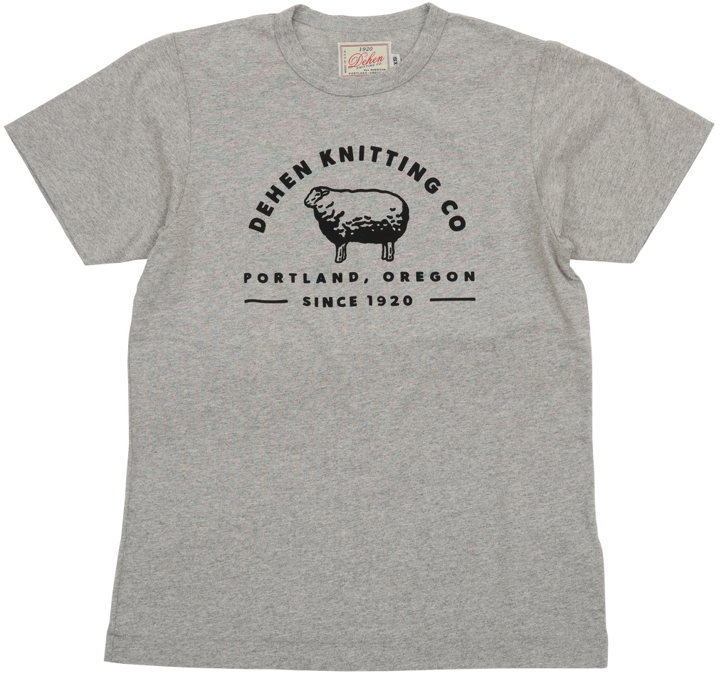 可愛らしい羊のスクリーンプリントが魅力的なTシャツ Dehen 1920 デーヘン ロゴ 卓越 シープ スクリーンプリント Tシャツ 霜降りグレー In USA Knitting Heather あす楽 Made Co. 当店一番人気 Tee