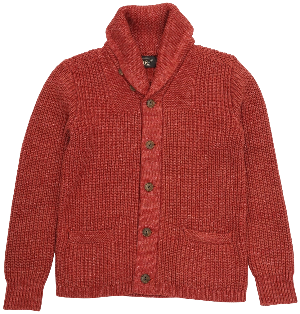 30年代のヴィンテージ品を上質素材で再現したカーディガン ダブルアールエル 人気ブレゼント RRL コットン ブレンド ショールカラー カーディガン メンズ 霜降りレッド 品質保証 Collar Red Shawl Cardigan あす楽