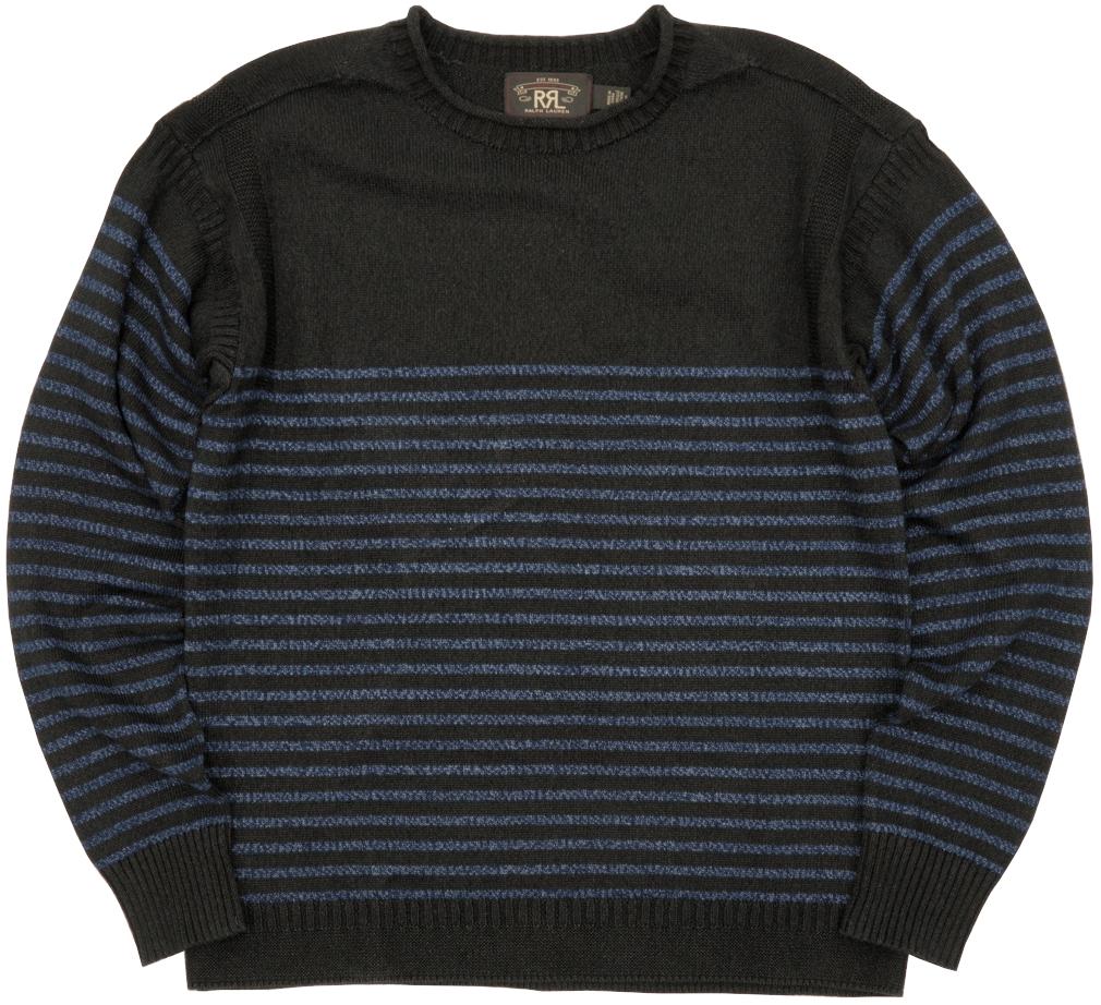 100年前のヴィンテージ品を高級素材で再現 在庫各1のみ ダブルアールエル RRL 本藍染め インディゴ リネン コットン 商い セーター ボーダー あす楽 アイテム勢ぞろい Indigo Linen-Cotton メンズ Sweater