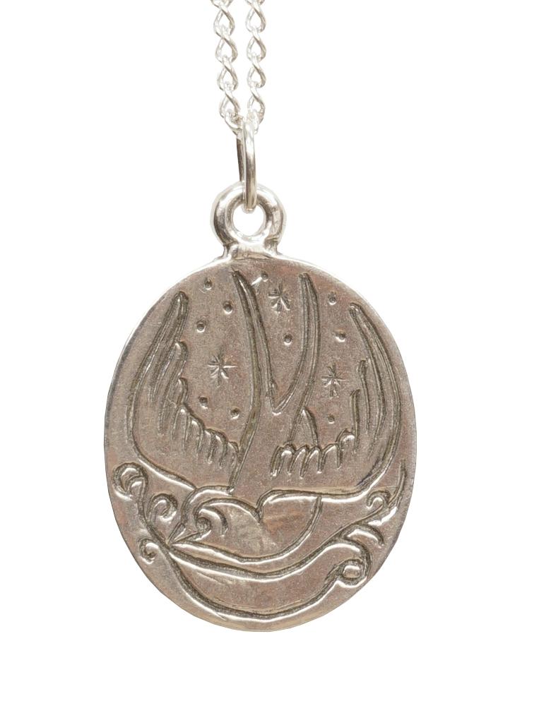 古来の水夫が使用したタトゥーデザインのシルバーネックレス LHN 限定Special Price Seasonal Wrap入荷 Jewelry エルエイチエヌ ジュエリー アメリカ製 ハンドメイド スワロー ネックレス Swallow あす楽 メンズ Charm Necklace Silver シルバー ユニセックス