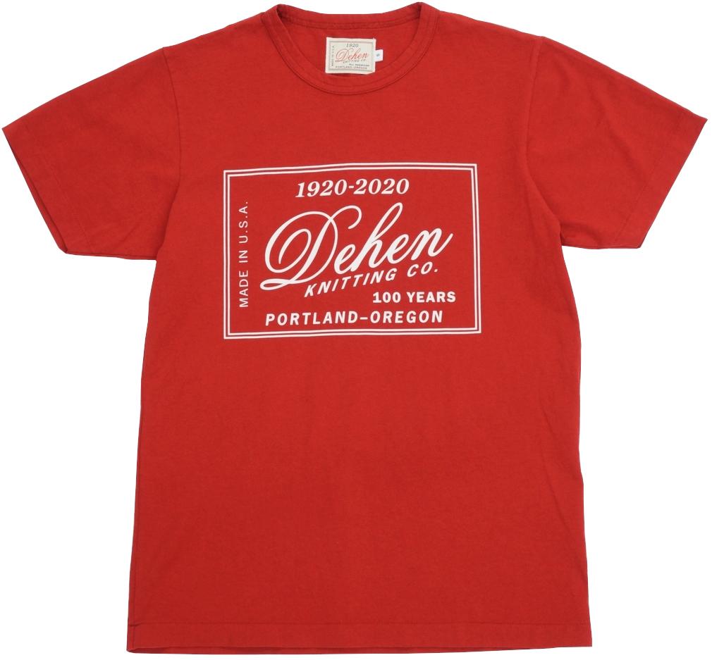 鮮やかなカラーリングが魅力的な100周年を記念した限定Tシャツ Dehen 1920 デーヘン 創業100周年 限定モデル スクリーンプリント Tシャツ レッド 贈与 アウトレット☆送料無料 アメリカ製 Single Tee Year あす楽 Red Label メンズ Anniversary 100