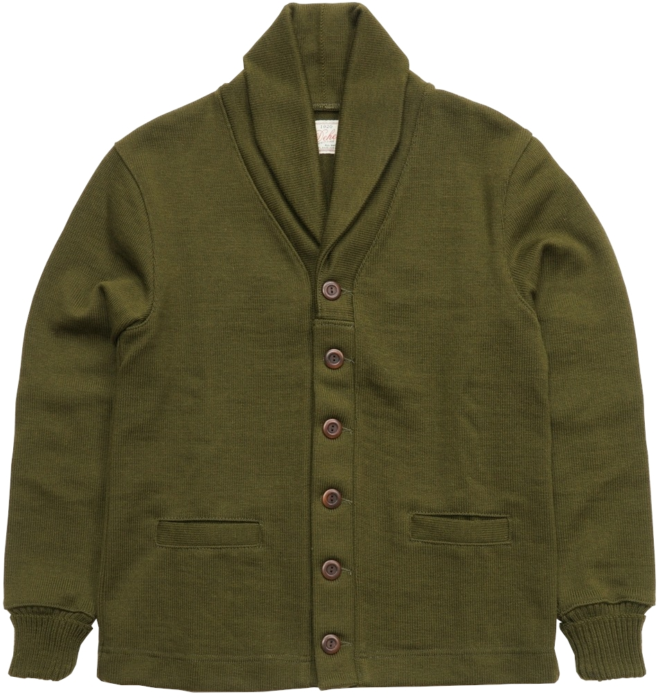 Made in USAの渋い色合いのカーディガン Dehen 1920 デーヘン ショール セーター コート 秀逸 カーディガン Shawl オリーブ アメリカ製 安い 激安 プチプラ 高品質 ワッペン Coat Sweater あす楽 メンズ Loden