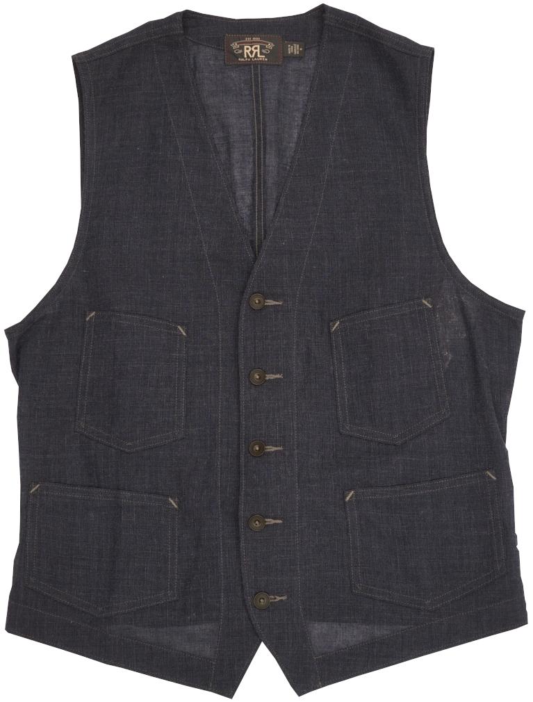 日本製生地を職人が本藍染めで仕上げた大人の高級ベスト ダブルアールエル RRL 新着セール 至上 日本製生地 Anderson ウール リネン ブレンド 本藍染め Wool あす楽 Indigo ベスト Cotton インディゴ Vest Blend メンズ