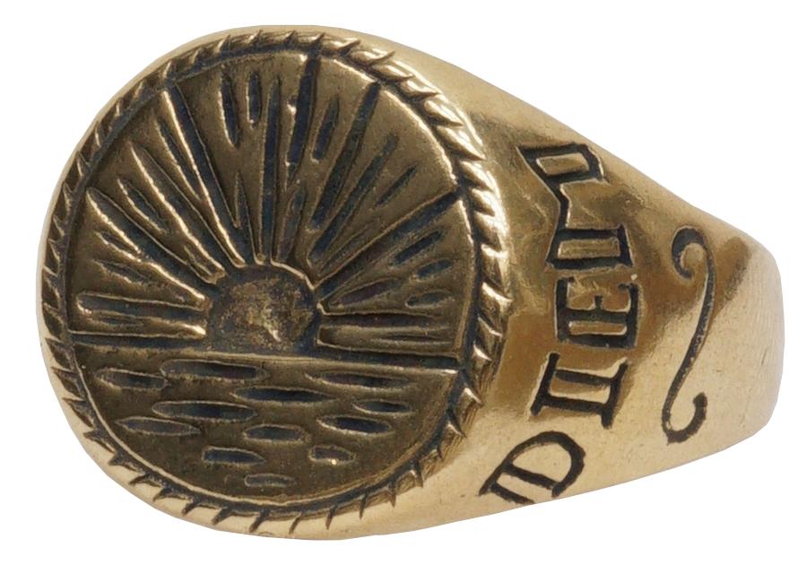 毎日をポジティブに過ごすメッセージがこもったリング LHN Jewelry エルエイチエヌジュエリー 半額 ハンドメイド 激安 激安特価 送料無料 Sunrise Signet リング 真鍮製 メンズ Ring あす楽 ユニセックス Brass レディース サンライズ