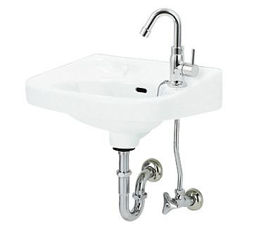 *アサヒ衛陶*L250D 平付洗面器[立水栓]セット Sトラップ仕様