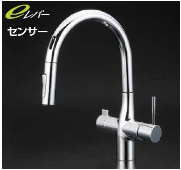 *KVK水栓金具*KM6091EC センサー付 シャワー引出タイプ ビルトイン浄水器専用 シングルレバー水栓〈送料無料/代引不可〉