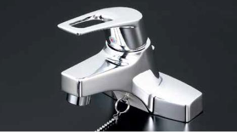 *KVK水栓金具*KM7014TA ハンドル湯側回転角度規制タイプ 洗面用 シングルレバー式混合栓〈送料無料/代引不可〉