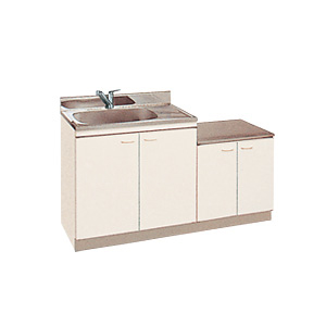 *丸南工業*KGD140S[R/L] 流し台 デッキ水栓取付タイプ Kシリーズ キッチンコンポ〈間口140cm〉