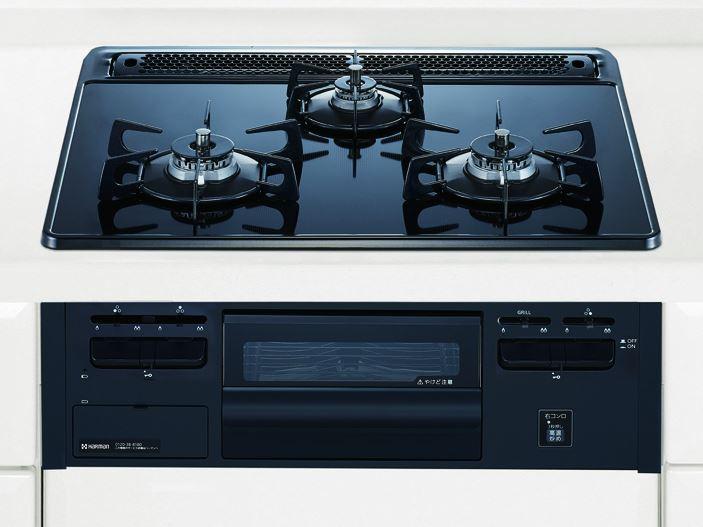 *ハーマン*DG32Q3VS ガスビルトインコンロ 60cm ガラストップ ダブル高火力 ダブルとろ火 水無片面焼 〈送料・代引手数料無料〉