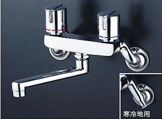 *KVK水栓金具* KM140GMR2 240mmパイプ付 浴室用 壁付 2ハンドル混合栓〈送料無料/代引不可〉