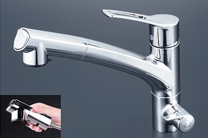 *KVK水栓金具* KM5061NST キッチン用 浄水器付シングルレバー式シャワー付混合栓 [Z351565付]〈送料無料/代引不可〉
