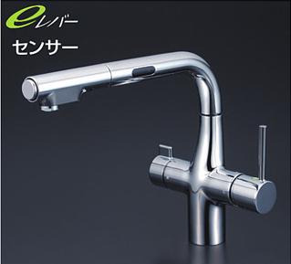 *KVK水栓金具* KM6131STEC センサー付 L形 キッチン用 浄水器付シングルレバー式シャワー付混合栓 [Z351565付]eレバー〈送料無料/代引不可〉