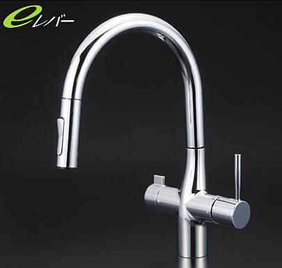*KVK水栓金具* KM6081STV11EC キッチン用 浄水器付シングルレバー式シャワー付混合栓 [Z351565付]eレバー〈送料無料/代引不可〉