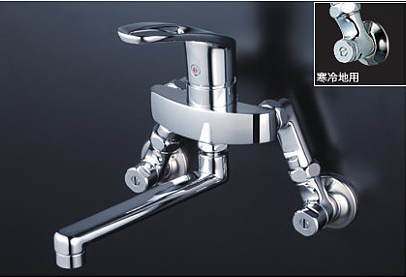 *KVK水栓金具* KM5000TS 延長ソケット付仕様 100mmタイプ キッチン用 シングルレバー式混合栓〈送料・代引無料〉