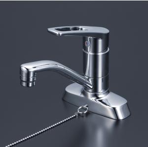 *KVK水栓金具* KM7004TGS ゴム栓付 2ツ穴シングルオープンホース 洗面用 シングルレバー式混合栓〈送料無料/代引不可〉